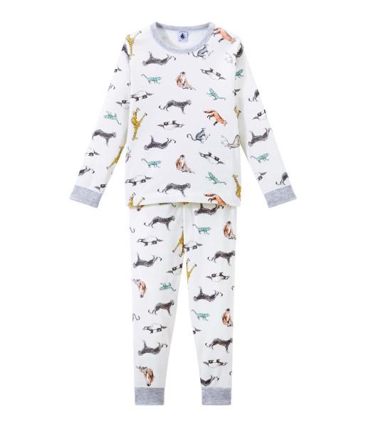 Jungen-Schlafanzug-creme-Tiere-Petit-Bateau-4358202-front