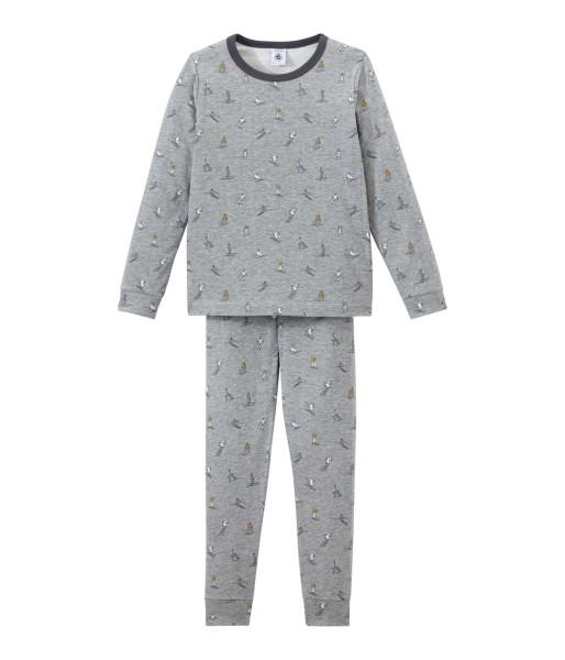 Jungen-Schlafanzug-grau-Skifahrer-Petit-Bateau-44304-02-front