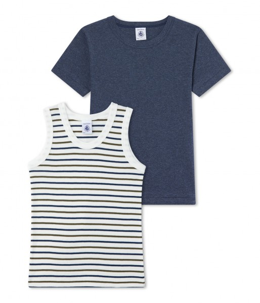 Jungen-Unterhemd-2Pack-uni-geringelt-Petit-Bateau-26507-00-front