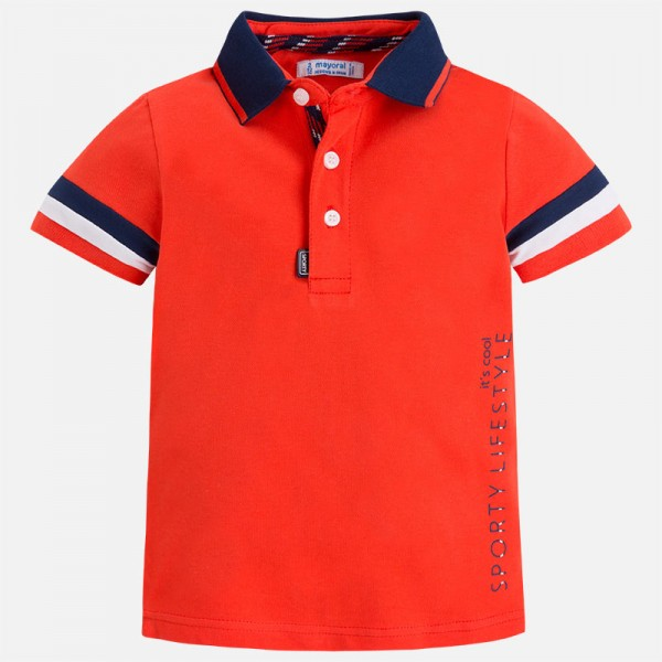Jungen-T-Shirt-Polo-hellrot-mayoral-3142068-front