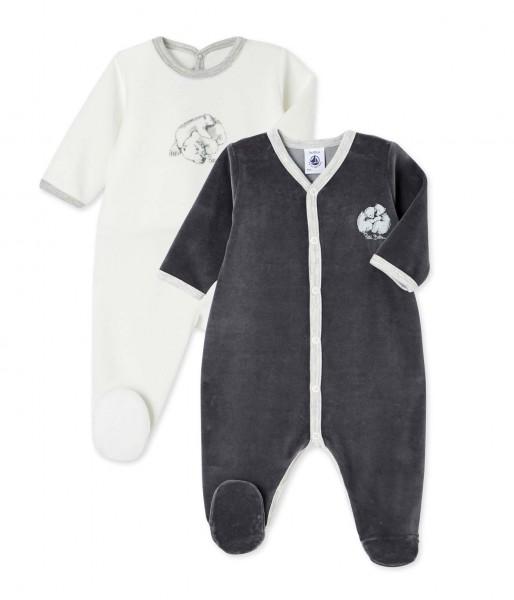 Schlafoverall-Jungen-2Pack-weiß-grau-Petit-Bateau-25559-99-front